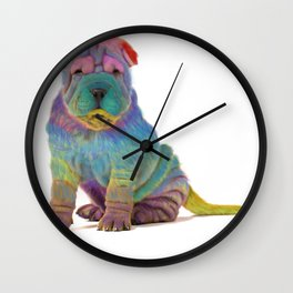 Colorful Sharpei Wall Clock