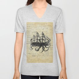 Kraken Octopus Attacking Ship Multi Collage Background Unisex V-Neck