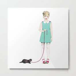 The girl with the ferret Metal Print