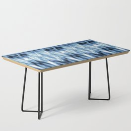 Blue Satin Shibori Argyle Coffee Table