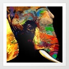 Abstract Elephant Portrait Art Print