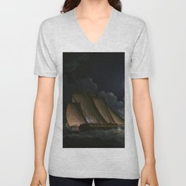 A Lugger And A Brig In Chase By Moonlight Off A Coast - Thomas Buttersworth Unisex V-Neck