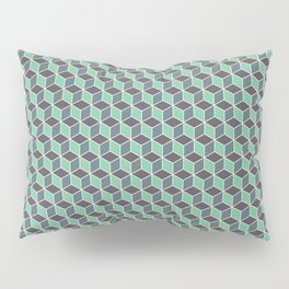 Pistachio Grey Seamless Cube Pattern Pillow Sham