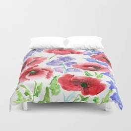 Poppies and Bells Duvet Cover
