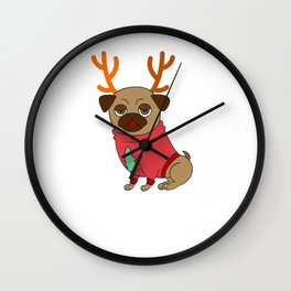 Cute Reindeer Pug Dog Lover Christmas Xmas Costume Wall Clock