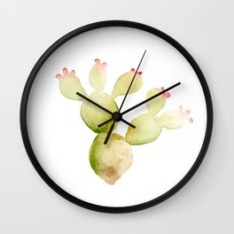 Cute Cactus - Green Succulent in Watercolor with Pink Flowers Wall Clock
