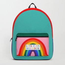 Love Your Neighbor Rainbow LGBTQ Affirming Church Backpack