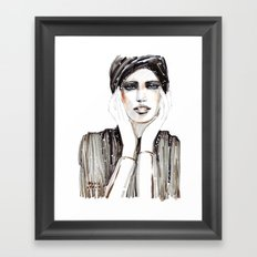 Fashion sketch in markers and pencil Framed Art Print