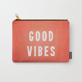 Sunset Orange/Red and White Distressed Ink Printed Good Vibes Carry-All Pouch