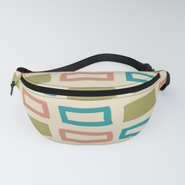 Mid Century Modern Abstract Squares Pattern 986 Olive Blue and Dusty Rose Fanny Pack