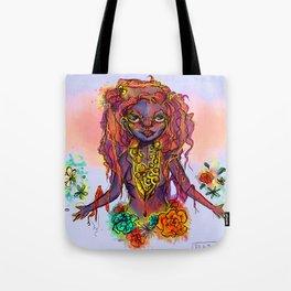 Flower Power Girl Tote Bag