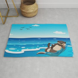 Otter Sunbathing on the Beach Rug