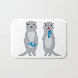 I Love You Mom. Funny grey kids otters with fish. Gift card for Mothers Day. Bath Mat