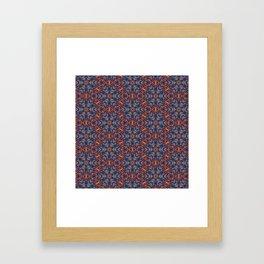 Striking Blue and Orange beadwork inspired Geometric Print Framed Art Print