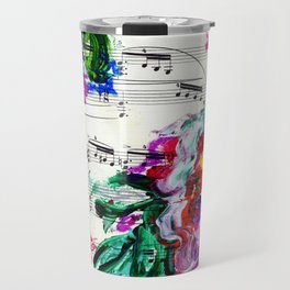 Musical Beauty - Floral Abstract - Piano Notes Travel Mug