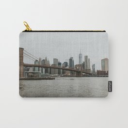 Skyline with Brooklyn Bridge from Pebble Beach | Colourful Travel Photography | New York City, America (USA) Carry-All Pouch
