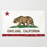 oakland Area & Throw Rugs featuring Oakland California Republic Flag Distressed  by NorCal
