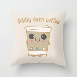 Diddly Darn Coffee Throw Pillow