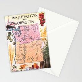 Vintage Map of Washington & Oregon (1921) Stationery Cards