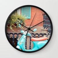 vespa Wall Clocks featuring Vespa  by Carmen Moreno Photography