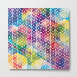 Cuben Curved #6 Geometric Art Print. Metal Print