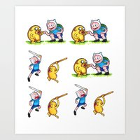 finn and jake Art Prints featuring  Finn&Jake  by memo_alatouly