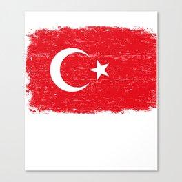 TURKISH FLAG TURKIYE Retro Vintage Turkey Gift Canvas Print