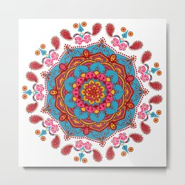 Colourful Indian Flower Patterned Mandala Red Pink & Blue Metal Print