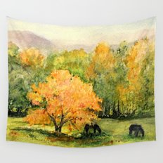 Autumn Landscape Horses Under Maples Wall Tapestry