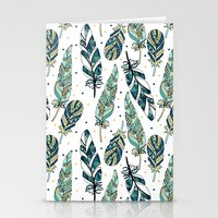 feathers Stationery Cards featuring Feathers by Julia Badeeva