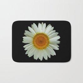 Summer White Daisy on Black Bath Mat