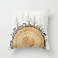 tree rings Throw Pillows featuring Tree Rings by dreamshade