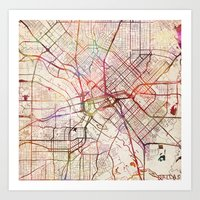 dallas Art Prints featuring Dallas by MapMapMaps.Watercolors