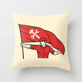 worker holding a flag - industry poster (design for labor day) Throw Pillow