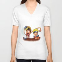 luffy V-neck T-shirts featuring Luffy And Naruto eating Ramen by mannynunez