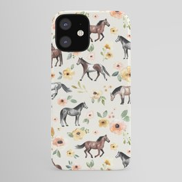 Horses and Flowers, Sunrise Floral, Cream, Horse Print, Horse Illustration, Pink and Yellow, Equestrian, Little Girls iPhone Case
