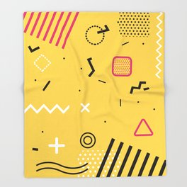 New York 1989 - Yellow Memphis Throwback Retro 1990s 80s Trendy Hipster Pattern Eighties Throw Blanket