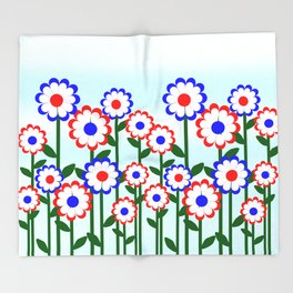 Retro Summer Flowers Throw Blanket
