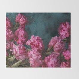 Peony Romance Teal Throw Blanket