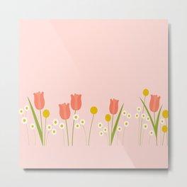 Pale Pink Light Orange Spring Flowers Metal Print