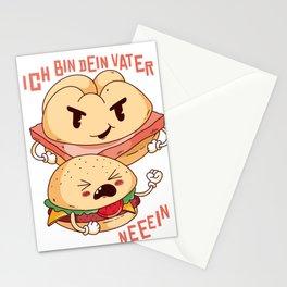 Leberkaese vs. Burger saying Stationery Cards