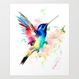 Hummingbird , Blue Turquoise Pink Art Print