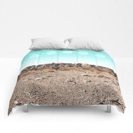 Desert Daylight Moon Ridge // Summer Lunar Landscape Teal Sky Red Rock Canyon Rock Climbing Photo Comforters