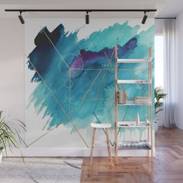 Galaxy Series [1]: an abstract mixed media piece in blue, purple, white, and gold Wall Mural
