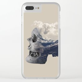 Mountain Skull Face Clear iPhone Case