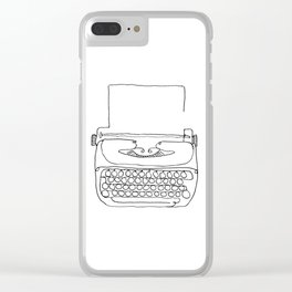 type writer single line drawing Clear iPhone Case