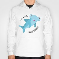 shark Hoodies featuring Shark by Michelle McCammon