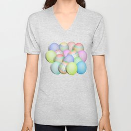 Pastel Colored Easter Eggs Unisex V-Neck