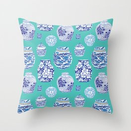 Chinoiserie Ginger Jar Collection No.5 Throw Pillow
