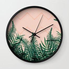 Tropical Ferns on Pink #society6 #decor #buyart Wall Clock